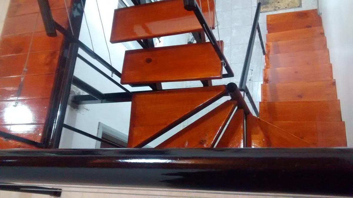 Escalera hierro y madera compensada en l u recta todo reja - Escalera de hierro y madera ...