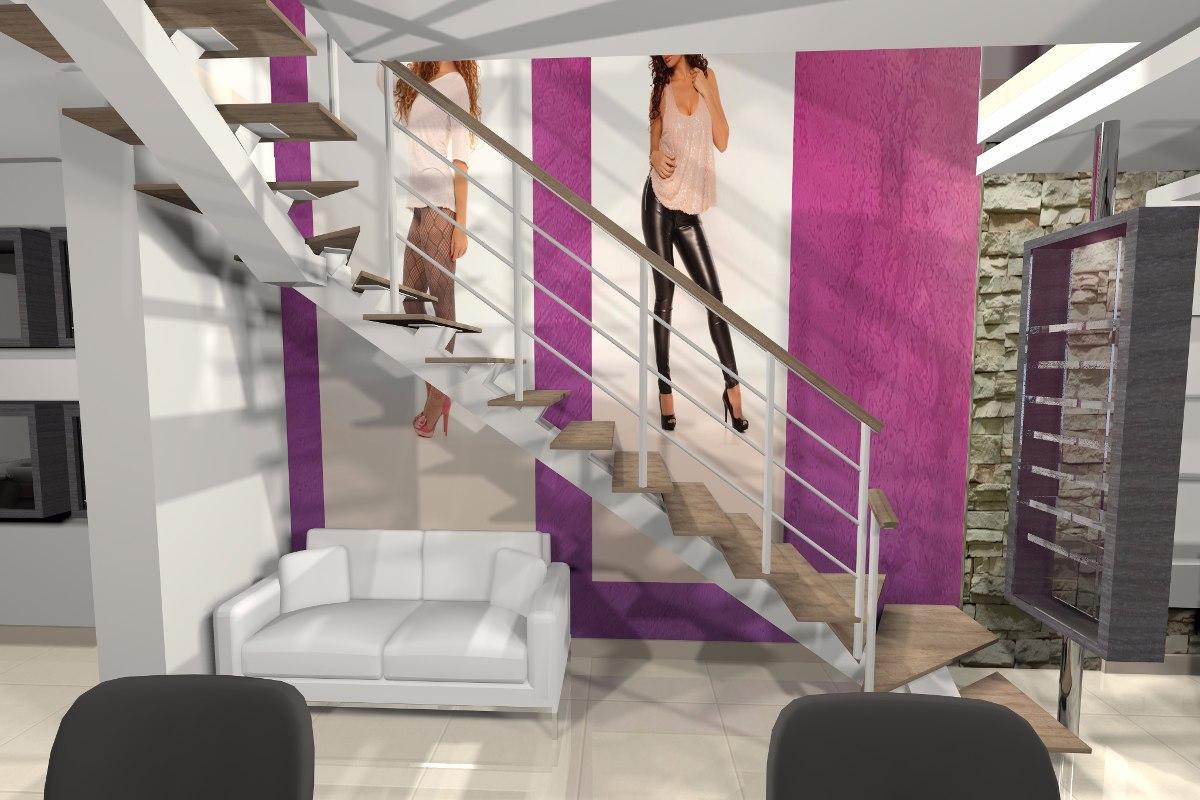 Escalera met lica con pasos de madera pumaquiro s for Escalera de madera 5 pasos