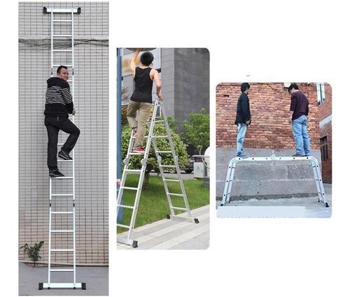 escalera multipropósito plegable aluminio 16 pasos 4m