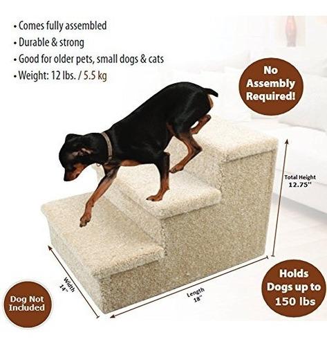 escalera para perro de 3 escalones con superficie alfombrada