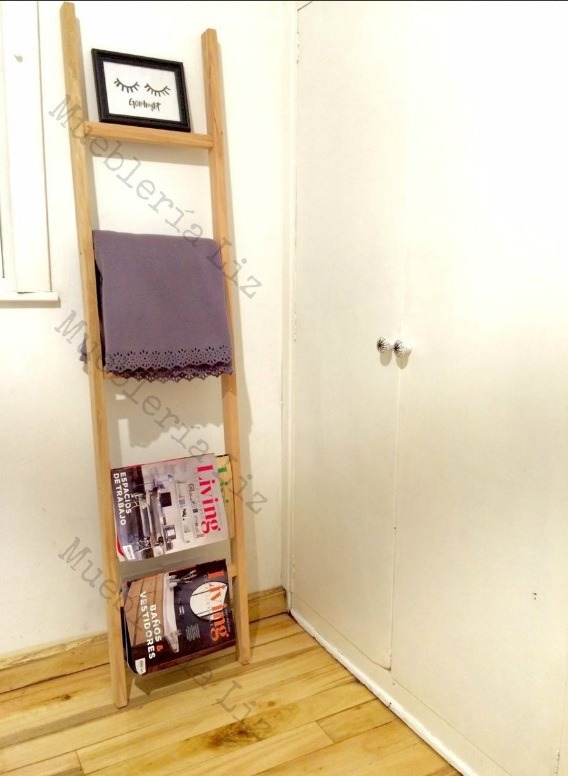 Escalera Perchero De Madera Decorativa Toallero Revistero 35 ... 6395a2c728d3