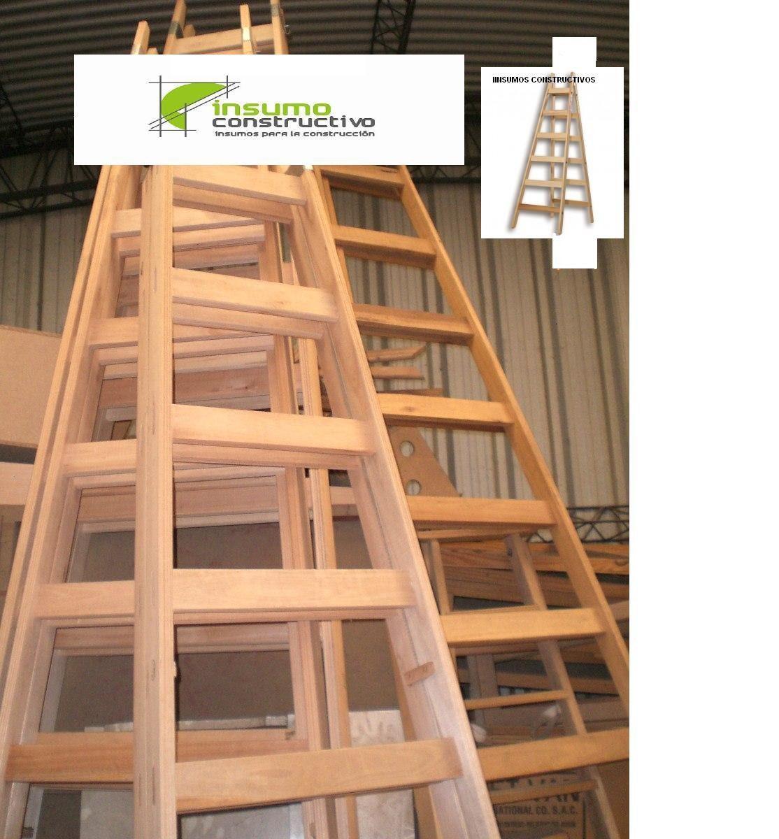 Escalera pintor en madera 10 escalones reforzada - Escalera de madera de pintor ...