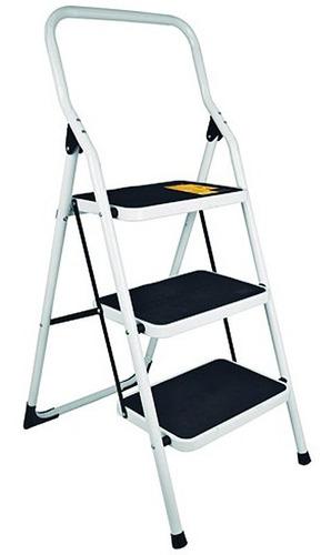 escalera plegable 3 peldaños acero escalones de goma pretul