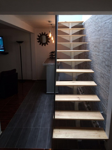 escalera recta minimalista cristal acero madera