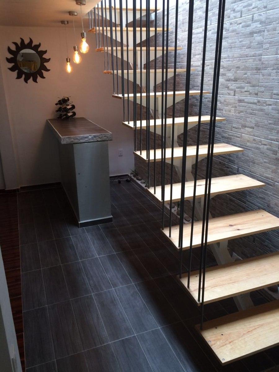 Escalera recta minimalista cristal acero madera 4 en mercado libre - Escaleras de cristal y madera ...