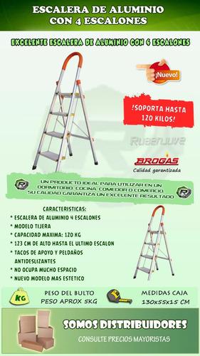 escalera reforzada de aluminio 150kg 4 escalones tijera