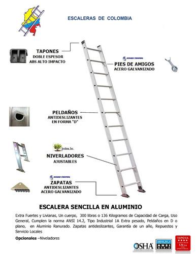 escalera sencilla aluminio 7 pasos / 2.1 metros 136 kg