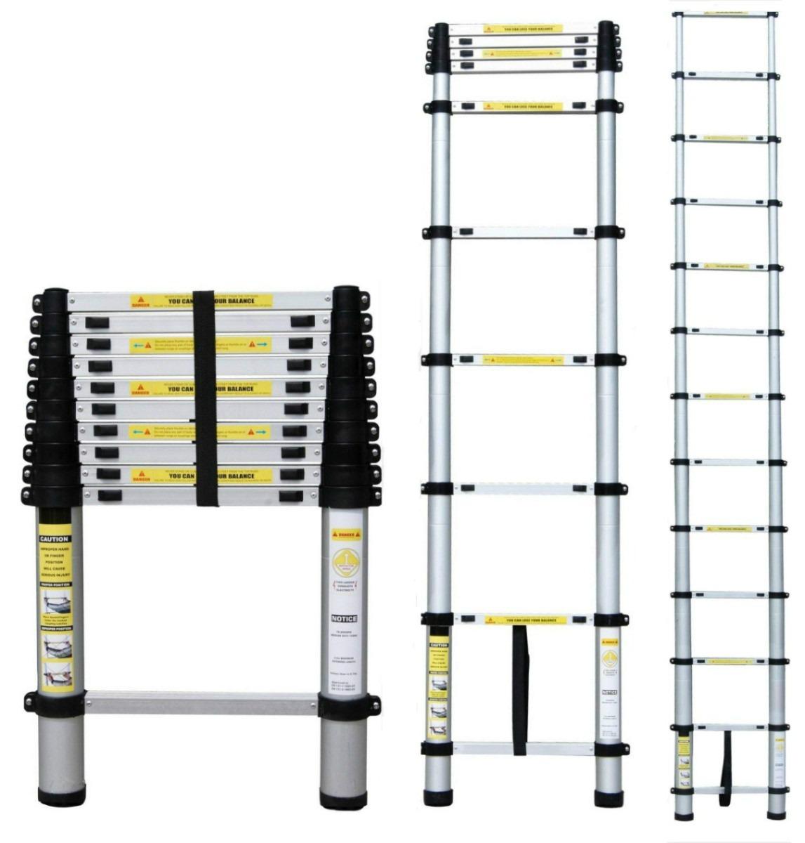 Escalera telescopica de aluminio 2 6 mts 8 pelda os for Escaleras 8 peldanos