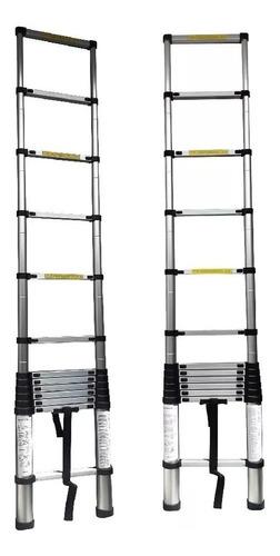 escalera  telescópica en aluminio 3.8 metros 12 pasos