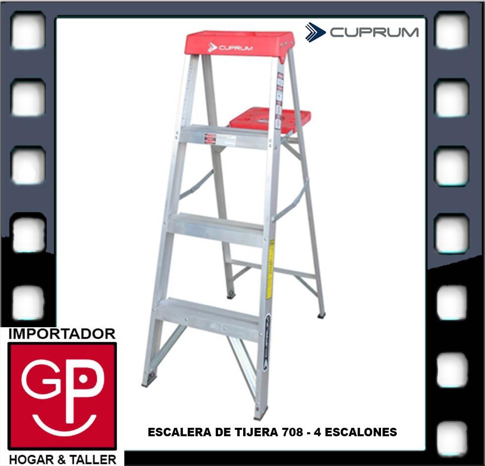 Escalera tijera de aluminio 708 4 escalones cuprum u s for Precio escalera aluminio