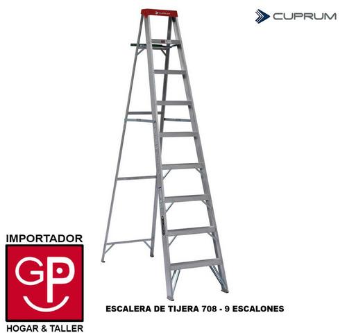 Escalera tijera de aluminio 708 9 escalones cuprum u s for Escalera 9 escalones