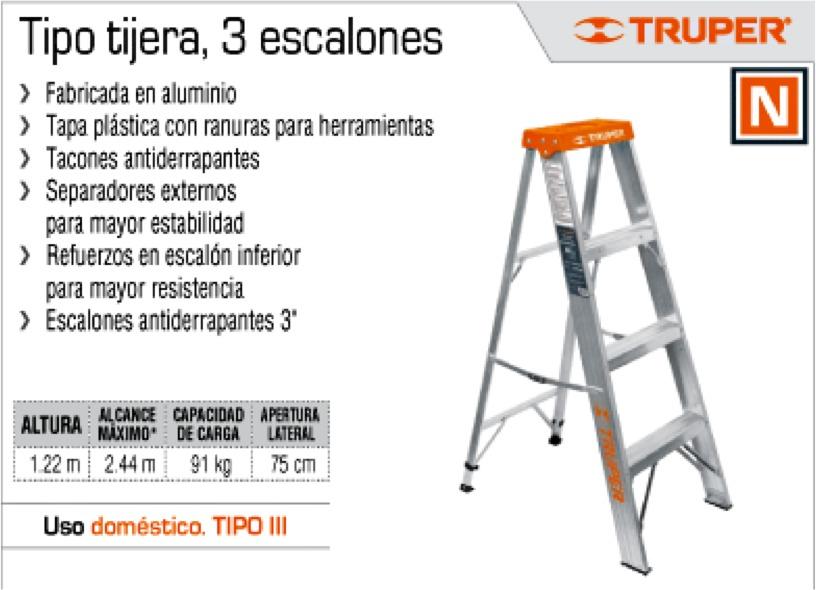 Escalera tipo tijera 3 escalones marca truper oferta for Escalera de tijera precio