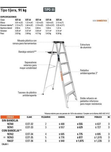 escalera tipo tijera 6 pasos 91 kg alto 2.13 mts  truper