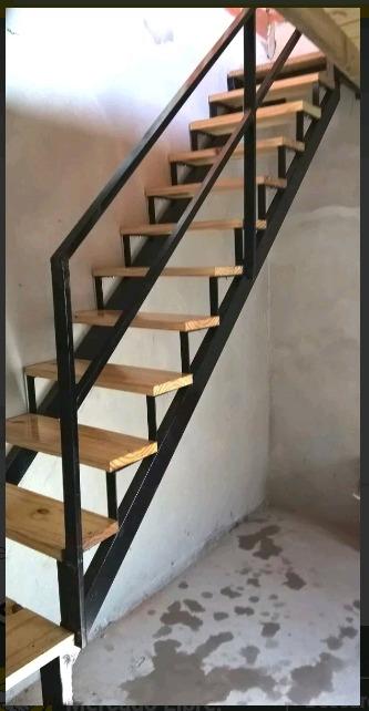 Escaleras caracol y rectas hierro y madera en mercado libre - Escaleras de obra ...