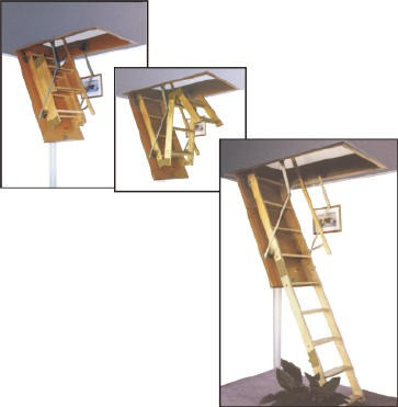 escaleras rebatibles para altillos en madera reforzada