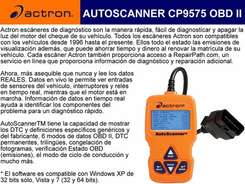 escaner actron cp9575 auto escaner
