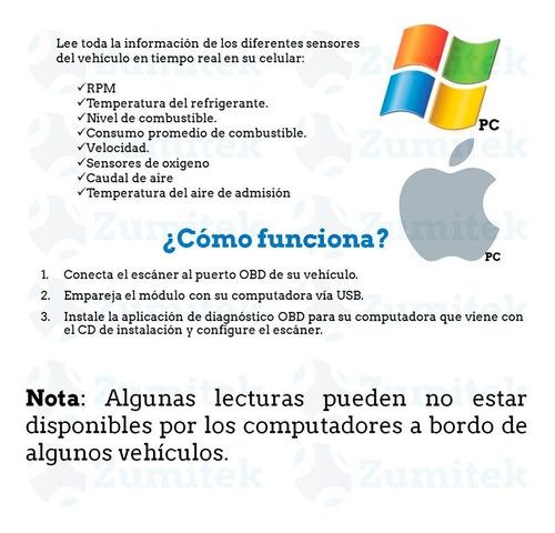 escáner automotriz obd2 - usb pc mac o windows