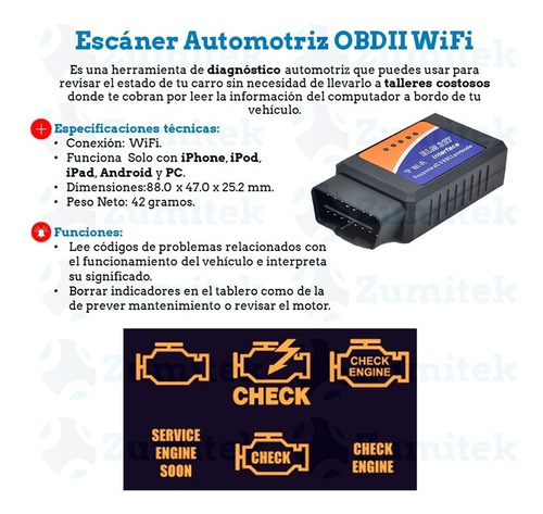 escáner automotriz obd2 wifi - iphone ipad - pc