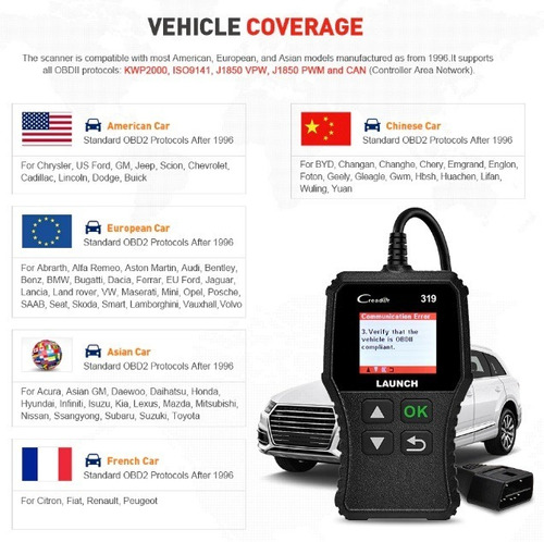 escaner launch creader 319 obd2 scanner cr319 obdii elm327