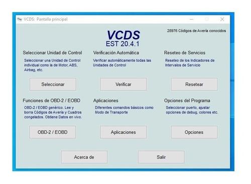 escáner vcds vagcom volskwagen skoda  en español  v.20.4.1