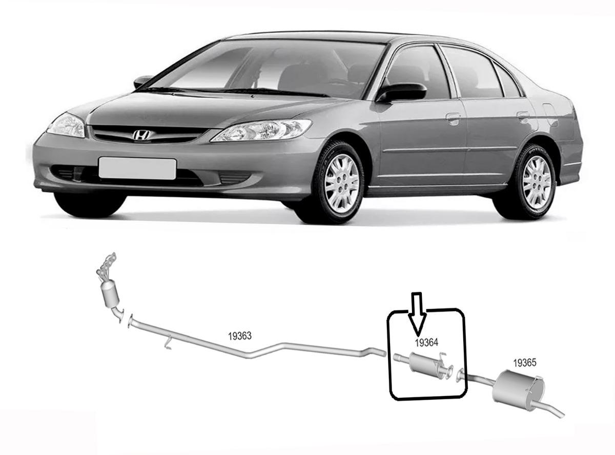 Elegant Escap Silencioso Intermerio Honda Civic 1.7 16v Lx 2001 à 06. Carregando  Zoom.