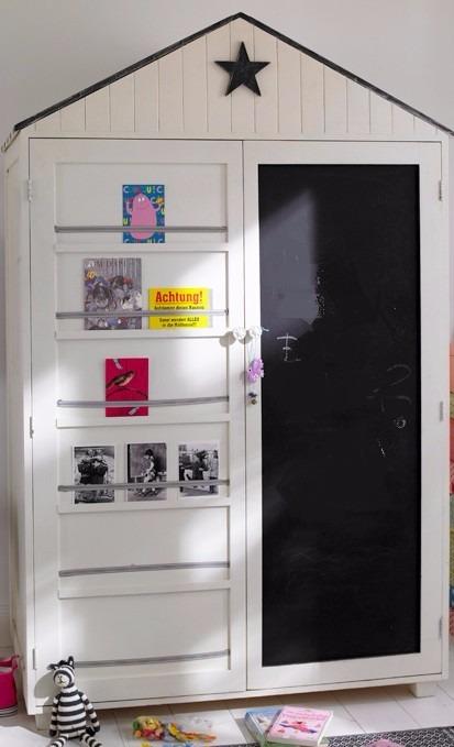 Escaparate closet armario infantil tipo casita en madera - Distribucion armario infantil ...
