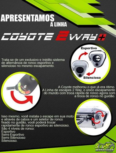 escape ponteira coyote 2 way + mais alumínio - ninja 250 r