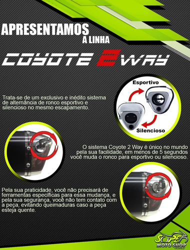 escape ponteira coyote trs 2 way alumínio - ninja 250 r