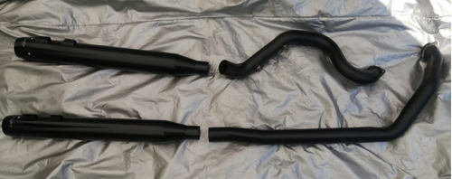 escapes y headers rineheart, negro satinado, harley touring