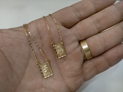 escapulário banhado ouro 18kl n. sra do carmo e cor. jesus
