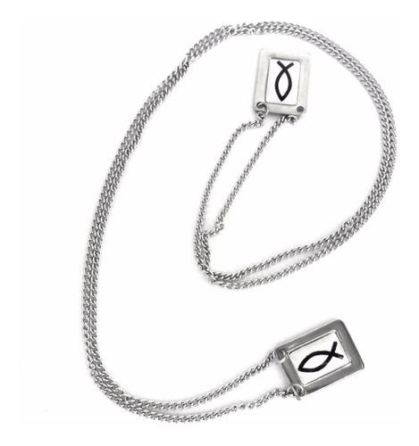 escapulário com foto símbolo peixe aço inox cirúrgico 316l