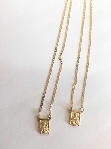 escapulário corrente piastrine 60 cm ouro 18k 750