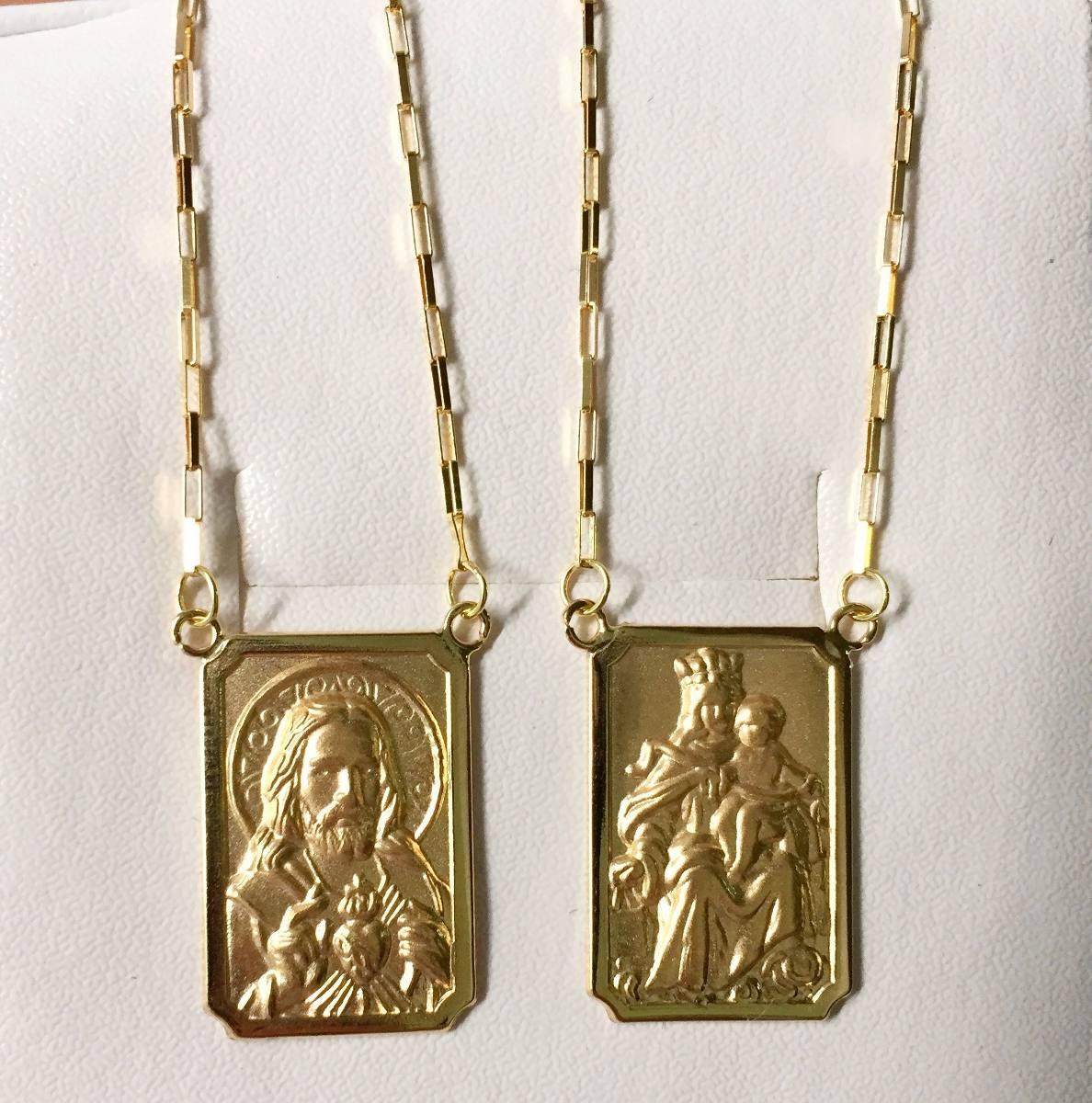Escapulario De Ouro 18k Médio Quadrado 1mm 3,5 Gr - R  879,98 em ... a9227fc3ff