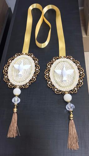 escapulário de porta divino espírito santo luxo dourado 1.7m
