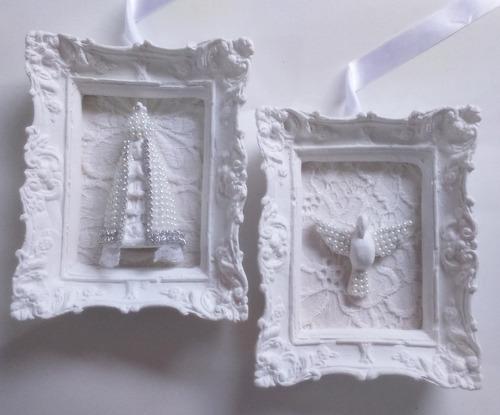escapulário de porta n. s. aparecida e divino espírito santo