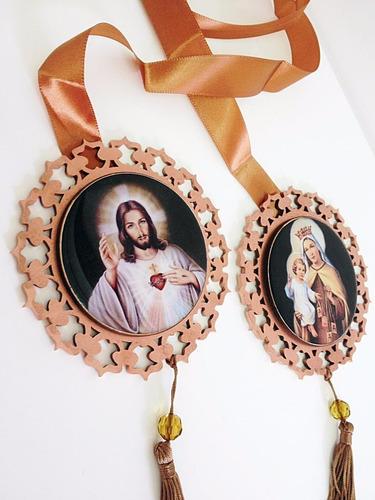 escapulário de porta sagrado coração de jesus e ns carmo mdf