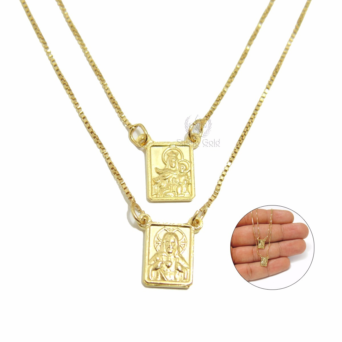 18a01343ab45f escapulário de prata masculino e feminino banhado a ouro 18k. Carregando  zoom.