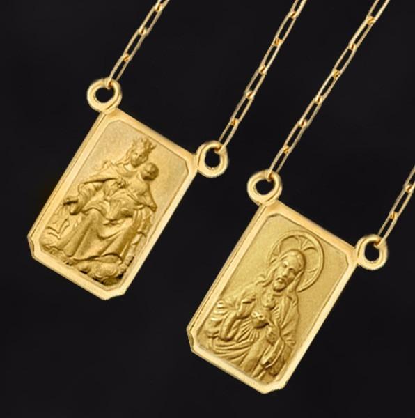 Escapulário Duplaface De Ouro 18k 3,1 Grs Feminino-masculino - R ... 052ef515bf
