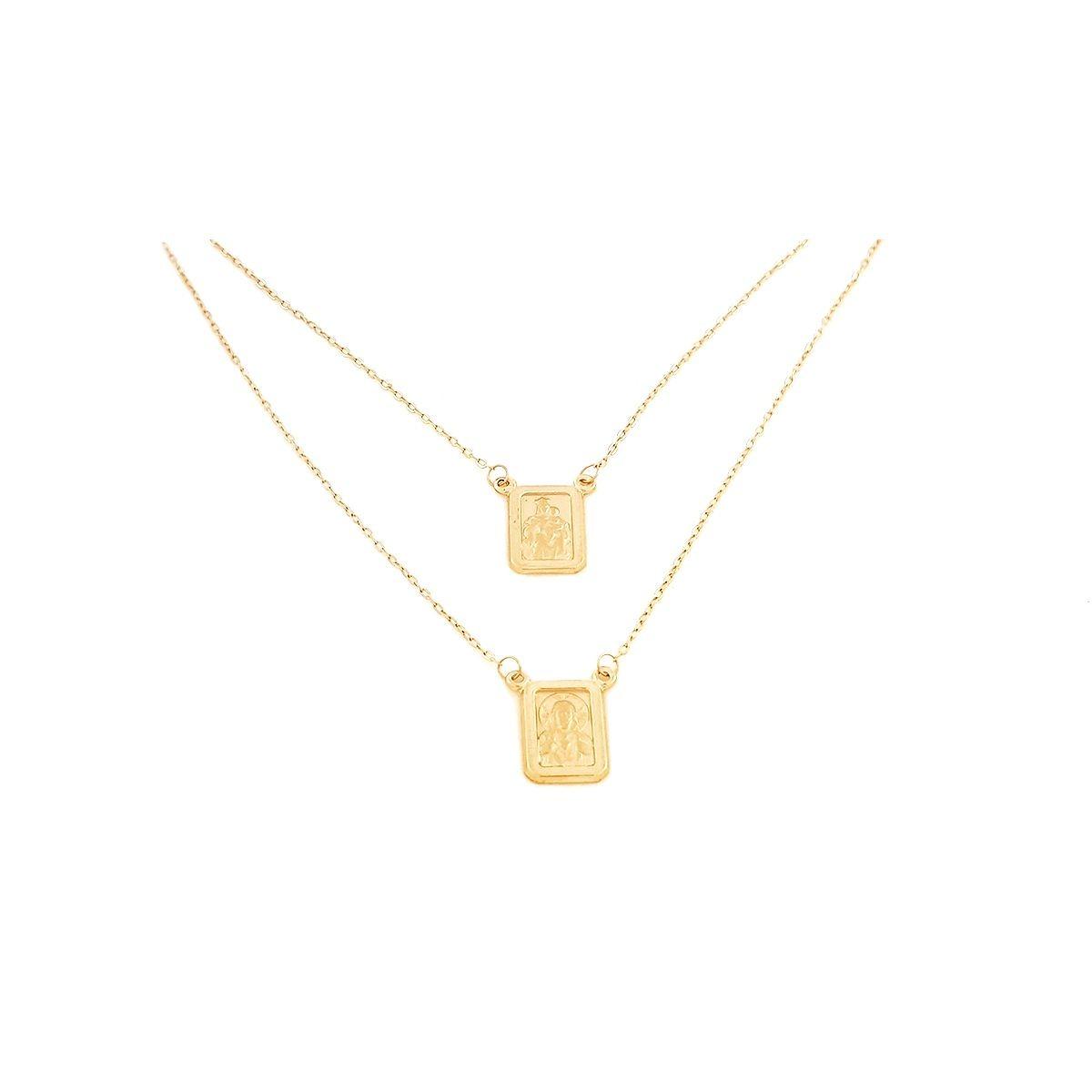 8cf67c990337e Escapulário Em Ouro 18k Mini-cadeado Dupla-face 60 Cm - R  813,56 em ...