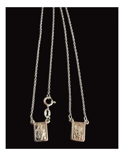 escapulário feminino prata 925 italiana 45cm delicado