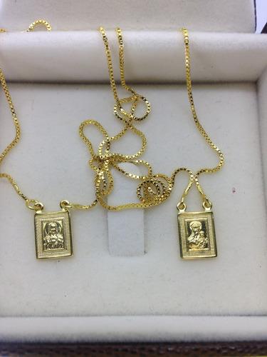 escapulario folheado ouro 18k nossa s carmo sagrado c jesus