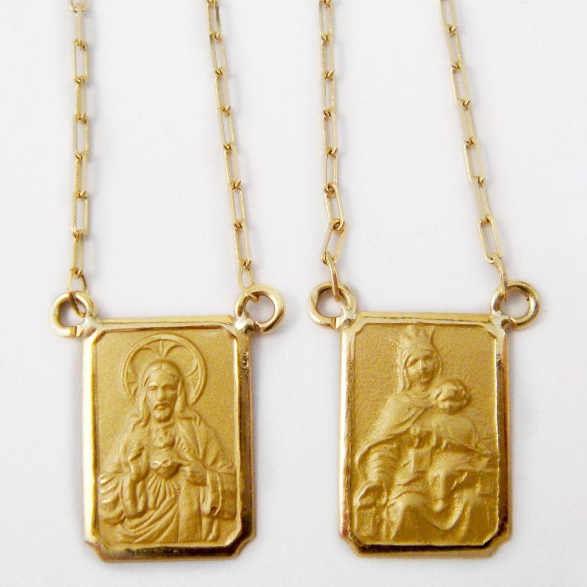 escapulário jesus cristo nossa senhora do carmo em ouro 18k. Carregando  zoom. f27a90b23b