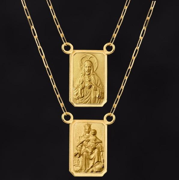 Escapulário Jesus Cristo nossa Senhora Do Carmo Em Ouro 18k - R  711 ... fed32c0526