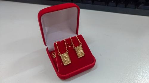 escapulário jóia folheado ouro 18kl frete grátis