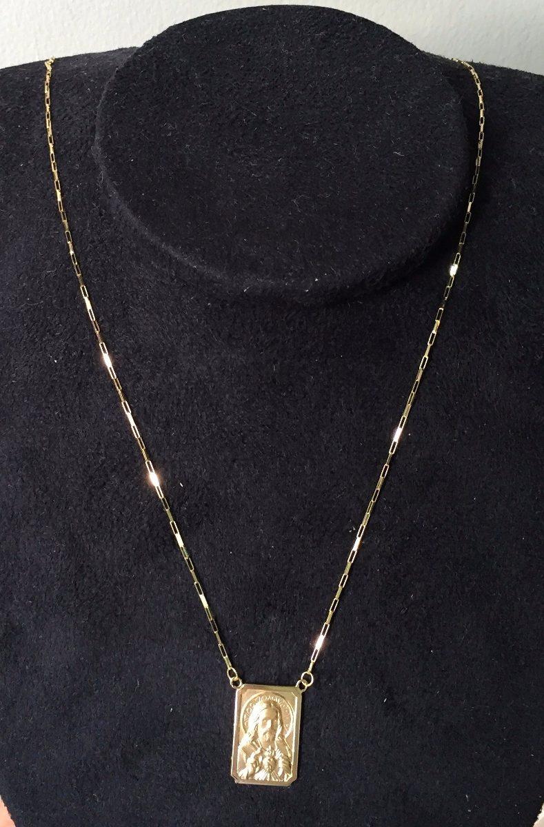191307e8e2659 escapulario masculino de ouro 18k grande corrente 1mm. Carregando zoom.