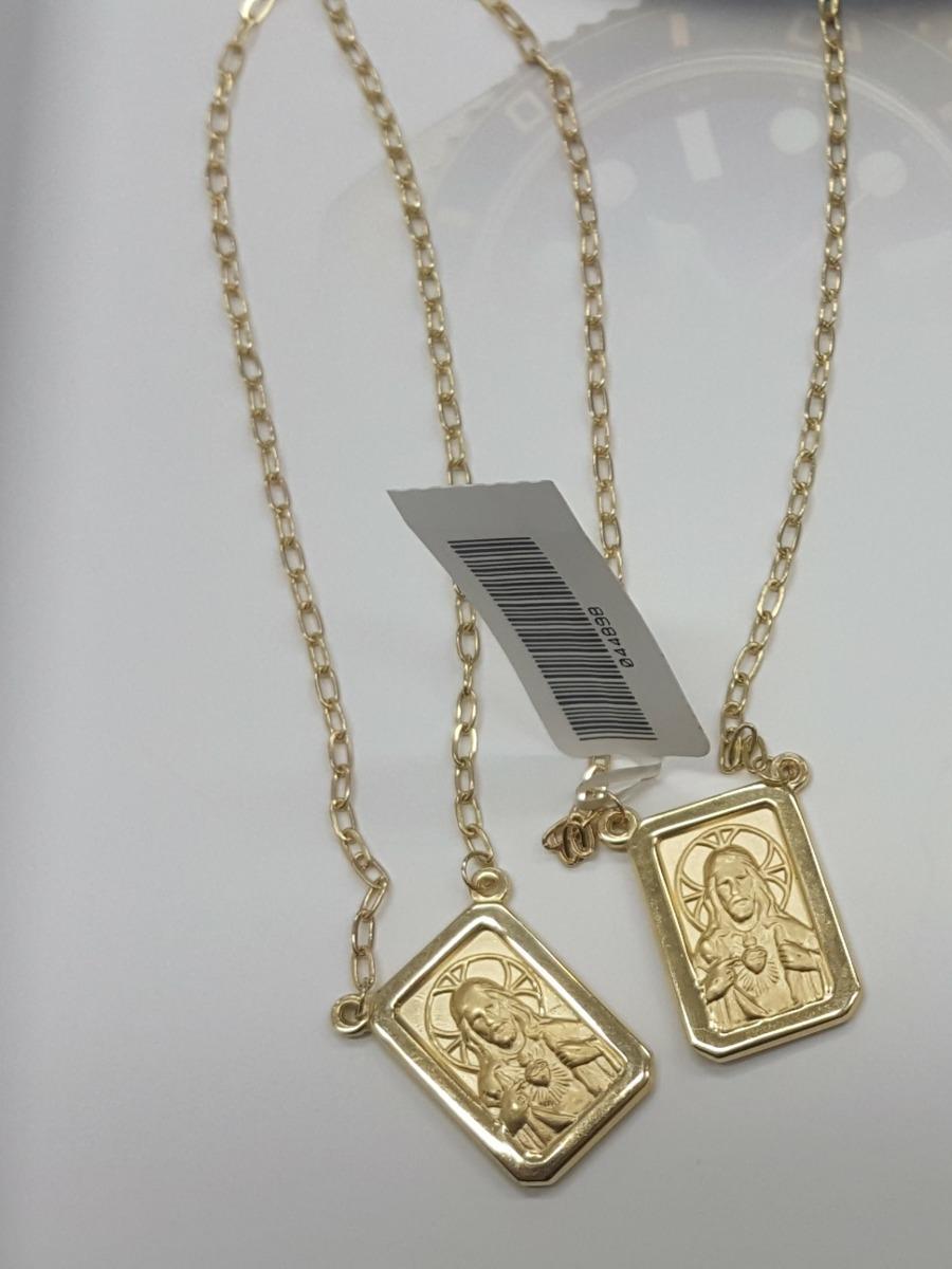 9dc4c69fdcfcb escapulário masculino grande dupla-face ouro 18k - 70 cm. Carregando zoom.