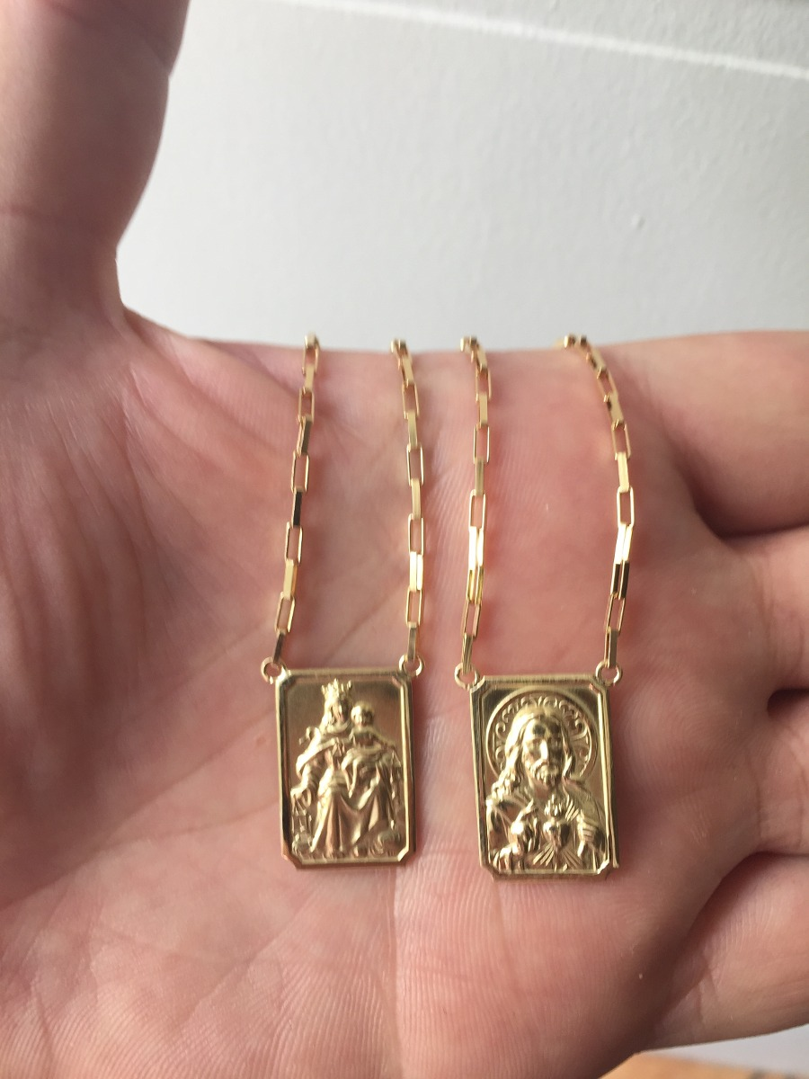 1b6e295f0db52 escapulario masculino médio de ouro 18k corrente 2mm · masculino ouro  corrente. masculino ouro corrente. 5 Fotos