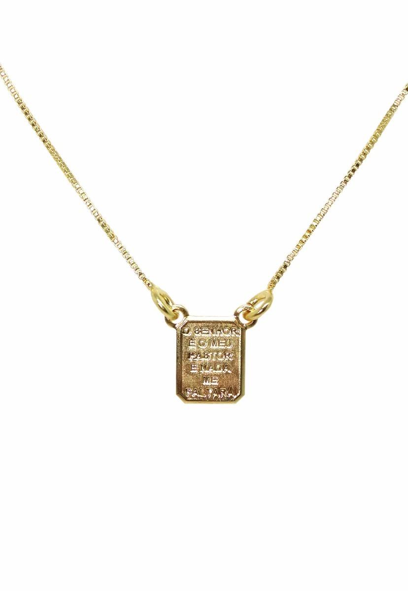 1f34a1fe663 Escapulário Masculino Réplica Dourado Unissex Semijoia - R  55
