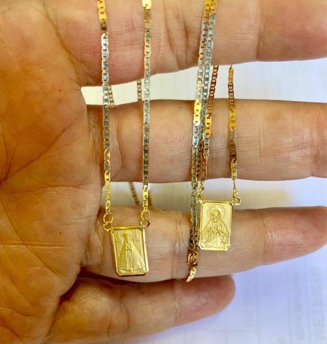 escapulário nossa senhora aparecida 60 cm ouro 18k 750