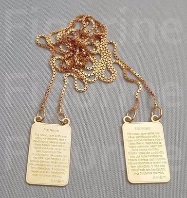 Escapulário Oração Do Pai Nosso Banhado A Ouro 18k (dourado) - R ... 475f38bf00
